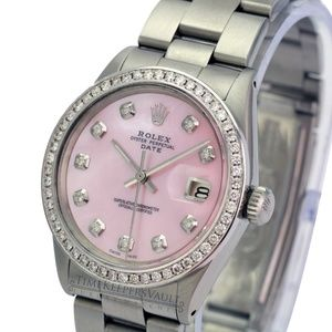 Rolex Oyster Perpetual Date Pink MOP 34mm Watch
